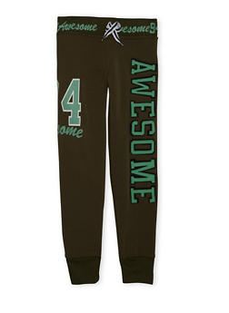 Girls 6X-16 Joggers with Awesome Graphic - 3631063401442