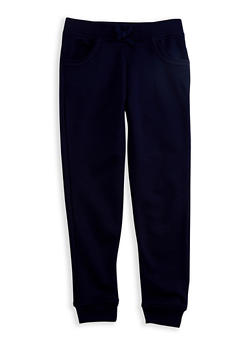 Girls 7-14 Navy Fleece Jogger Pants - 3631068320010