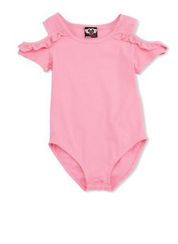 Girls 7-16 Apple Bottom Cold Shoulder Bodysuit with Ruffle Details - 3633054730001