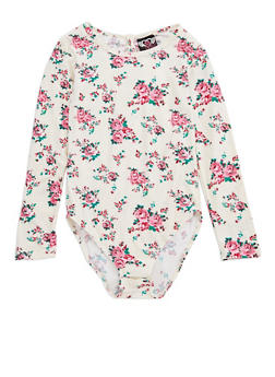 Girls 7-16 White Floral Bodysuit with Back Keyhole - 3633054730005