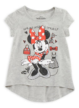 Girls 4-6x High Low Tee with Minnie Mouse Graphic - 3634009290081