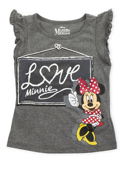 Girls 4-6x Ruffled Tee with Minnie Mouse Graphic - 3634009290083