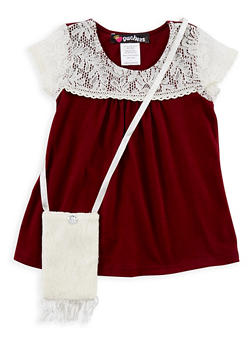 Girls 4-6x Crochet Yoke T Shirt with Purse - 3634021280002