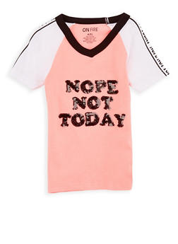 Girls 4-6X Nope Not Today Sequin Graphic T Shirt - 3634033870015