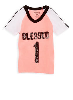 Girls 4-6X Blessed Sequin Graphic T Shirt - 3634033870016