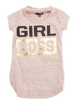 Girls 4-6x Girl Boss Graphic Keyhole Neck T Shirt - 3634038340002
