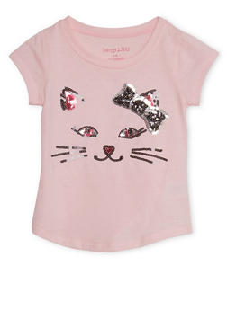 Girls 4-6x T-Shirt with Sequin Cat Design - 3634061958703