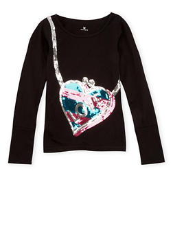 Girls 4-6x Long Sleeve Top with Love Heart Purse Sequins - 3634061958708