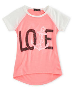 Girls 4-6x Raglan T-Shirt with Nautical Love Graphic - 3634066590073