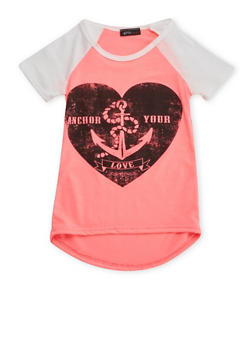 Girls 4-6x Raglan Tee with Anchor Heart Graphic - 3634066590078
