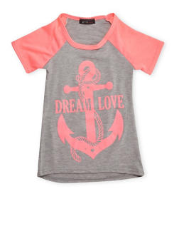 Girls 4-6x Raglan T-Shirt with Anchor Graphic - 3634066590081