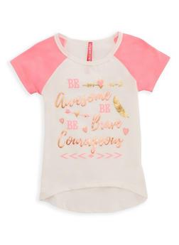 Girls 4-6x Be Awesome Graphic Raglan T Shirt - 3634066590085