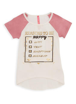 Girls 4-6x Reasons to be Happy Graphic Raglan T Shirt - 3634066590086