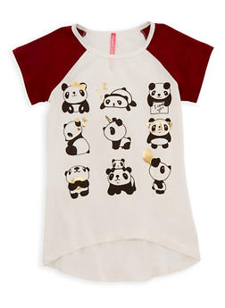 Girls 4-6x Panda Graphic Raglan T Shirt - 3634066590091