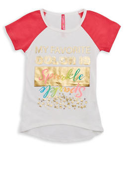 Girls 4-6x My Favorite Color is Sparkle Graphic Raglan Top - 3634066590093
