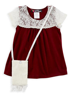 Girls 7-16 Crochet Yoke T Shirt with Purse - 3635021280004