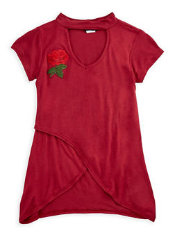 Girls 7-16 Mock Neck Top with Flower Patch - 3635029890153