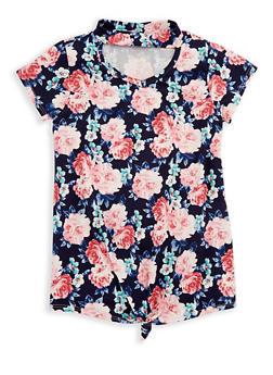 Girls 7-16 Floral Keyhole Top - 3635029890156