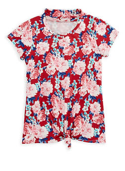 Girls 7-16 Floral Keyhole Top - 3635029890156