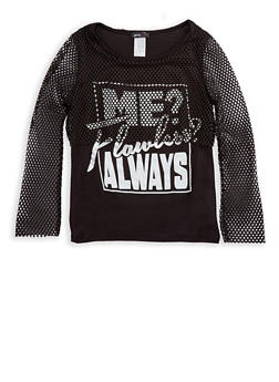 Girls 7-16 Flawless Mesh Overlay Graphic Top - 3635029890157
