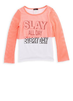 Girls 7-16 Slay All Day Everyday Mesh Overlay Graphic Top - 3635029890158