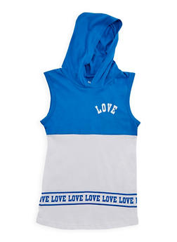 Girls 7-16 Hooded Love Graphic Top - 3635033870096