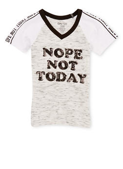 Girls 7-16 Not Today Graphic Sequin T Shirt - 3635033870105