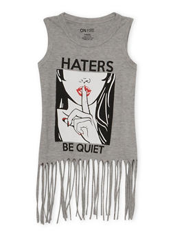 Girls 7-16 Fringe Graphic Tank Top Haters Be Quiet - 3635033870108