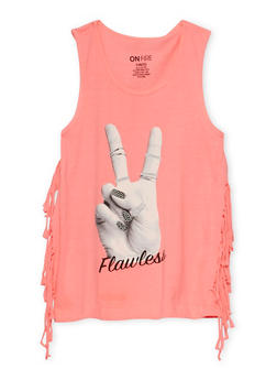 Girls 7-16 Flawless Graphic Fringe Tank Top - 3635033870116