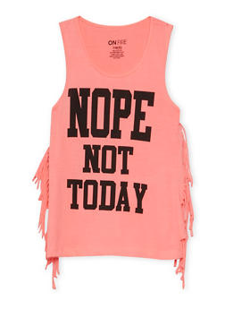 Girls 7-16 Nope Not Today Graphic Fringe Tank Top - 3635033870118