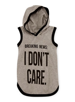 Girls 7-16 I Don't Care Graphic Hooded Tank Top - 3635033870122