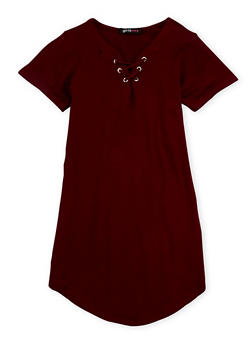 Girls 7-16 Lace Up Basic Tunic Top - 3635038340001