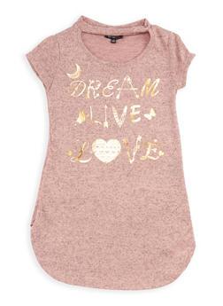 Girls 7-16 Dream Foil Graphic Keyhole Top - 3635038340002