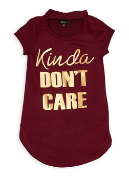 Girls 7-16 Short Sleeve Kinda Dont Care Graphic Top - 3635038340005
