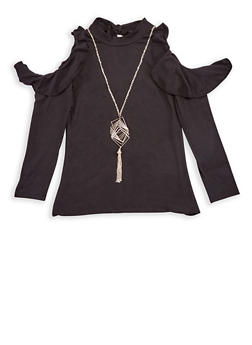 Girls 7-16 Ruffled Cold Shoulder Top with Necklace - 3635038340008
