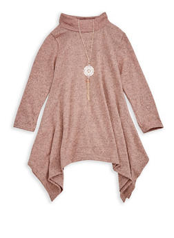 Girls 7-16 Asymmetrical Top with Necklace - 3635038340012