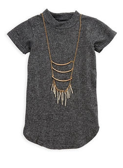 Girls 7-16 Mock Neck Top with Necklace - 3635038340014
