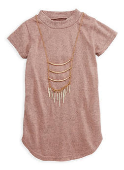Girls 6x-16 Mock Neck Top with Necklace - 3635038340014