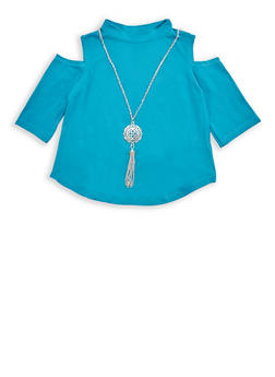 Girls 7-16 Cold Shoulder Top with Necklace - 3635038340015