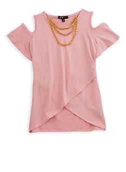 Girls 7-16 Cold Shoulder Top with Detachable Chain Necklace - 3635038340017