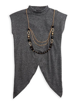 Girls 7-16 Short Sleeve Cross Over Top with Detachable Necklace - 3635038340018