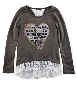 Girls 7-16 Heart Graphic Top with Lace Trim - 3635061950017