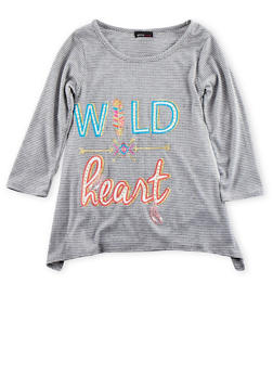 Girls 7-16 Knit Top with Wild Heart Graphic and Handkerchief Hem - 3635061950018
