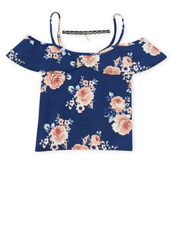 Girls 7-16 Floral Cold Shoulder Top with Choker - 3635061950019