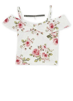 Girls 7-16 Floral Cold Shoulder Top with Choker - 3635061950020