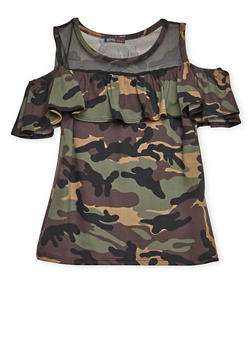 Girls 7-16 Camo Ruffled Cold Shoulder Top - 3635061950022
