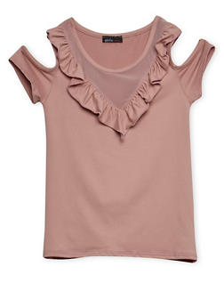 Girls 7-16 Cold Shoulder Ruffled Top - 3635061950025
