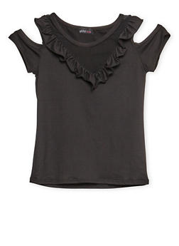 Girls 7-16 Cold Shoulder Ruffled Top - 3635061950027