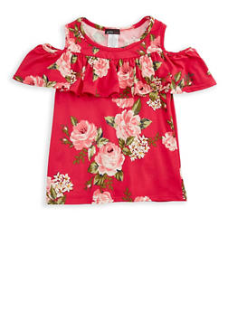 Girls 7-16 Cold Shoulder Ruffled Floral Print Top - 3635061950029
