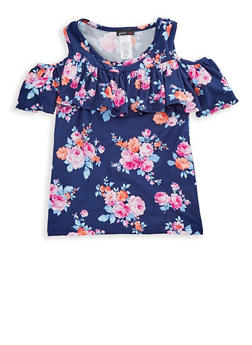 Girls 7-16 Floral Ruffled Cold Shoulder Top - 3635061950030